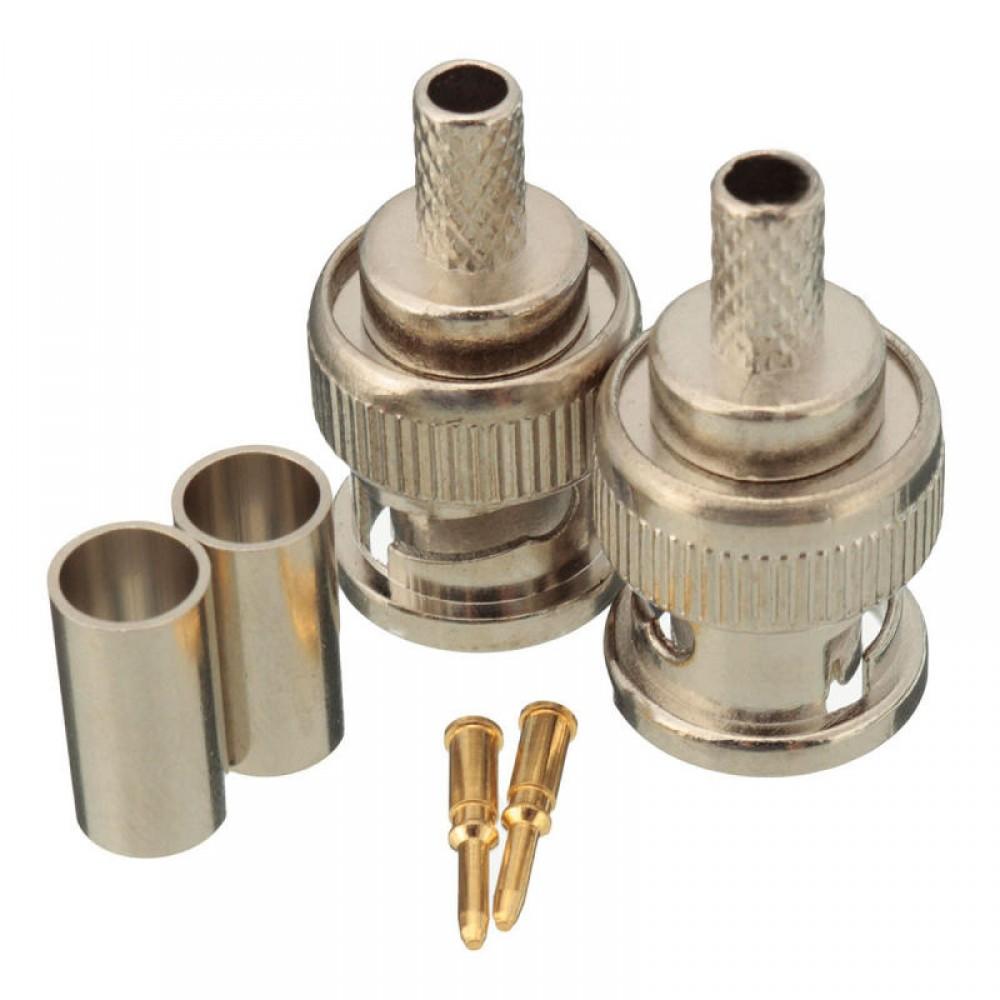 10 Sets BNC Plug Crimp Connectors Adapter for RG58 RG-58 Coax Male Antenna Cable