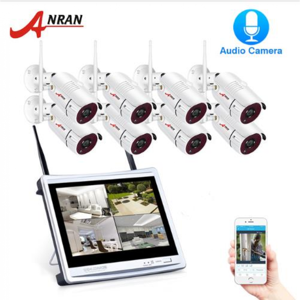 1080P 8CH Wireless Audio Record Surveillance Camera System IP Camera Outdoor Night Vision CCTV Security Camera System