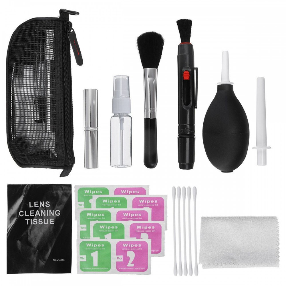 10 in 1 Universal Neutral SLR Digital Camera Cleaning Kit Lens Cleaner for Camera Phone PC Air Blow Brush Cloth