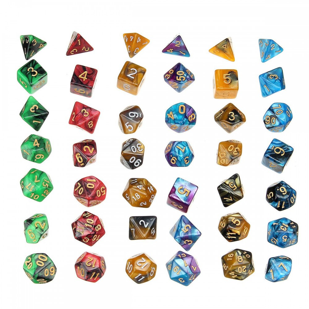 42Pcs Acrylic Polyhedral Dices Set Role Playing Game Dice Gadget for Dungeons Dragons D20 D12 D10 D8 D6 D4 Games Gift