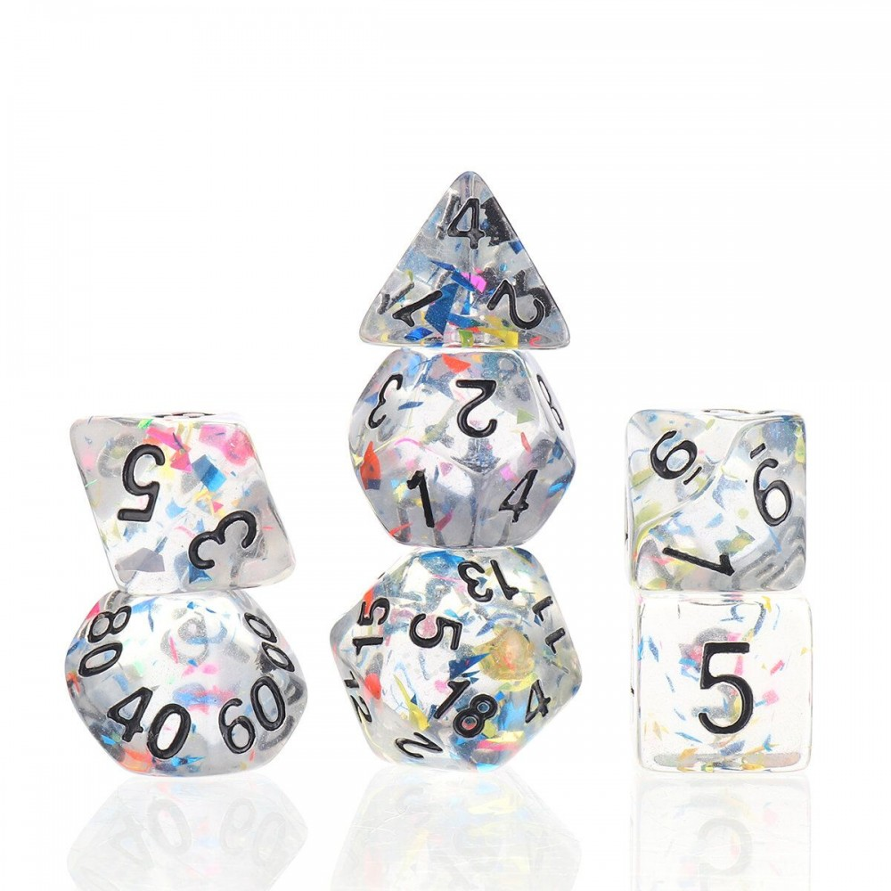 7Pcs Galaxy Polyhedral Dice Resin Mirror Dices Set Role Playing Board Party Table Game Gift