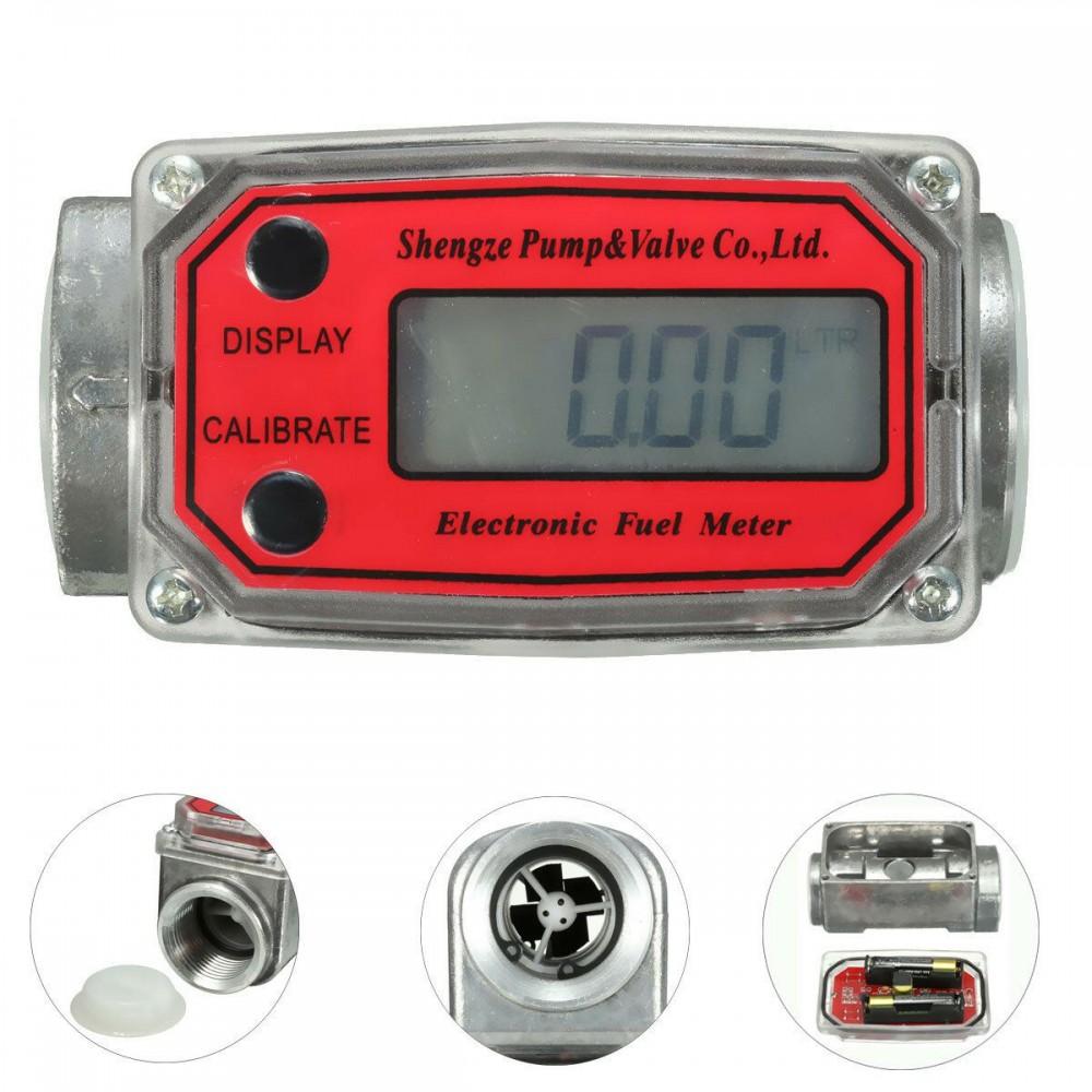 1inch Digital Oval Gear Turbine Flow Meter Kerosene Fuel Flow Meter 15-120L/Min