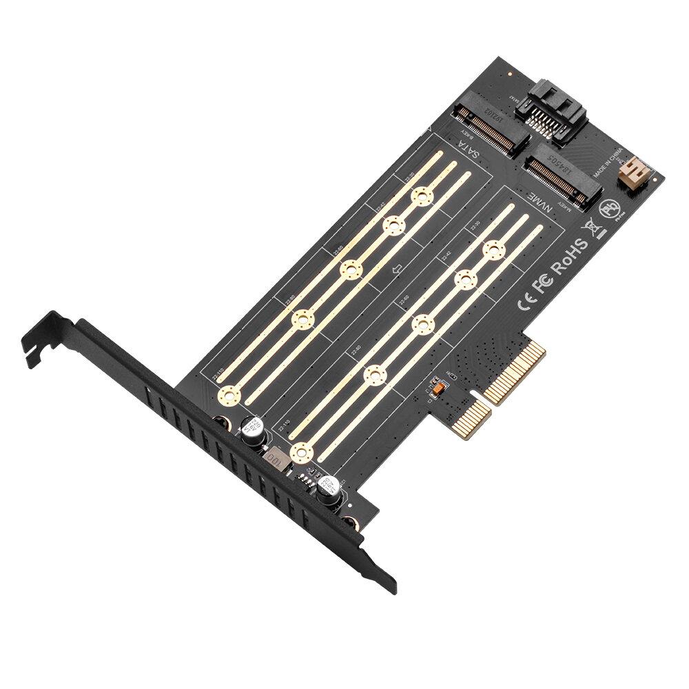 EC03 M2 Hard Disk Adapter Expansion Card PCI-E X4 3.0 M.2 SSD SATA/NVME Protocol NGFF M key/B key/B&M key Computer