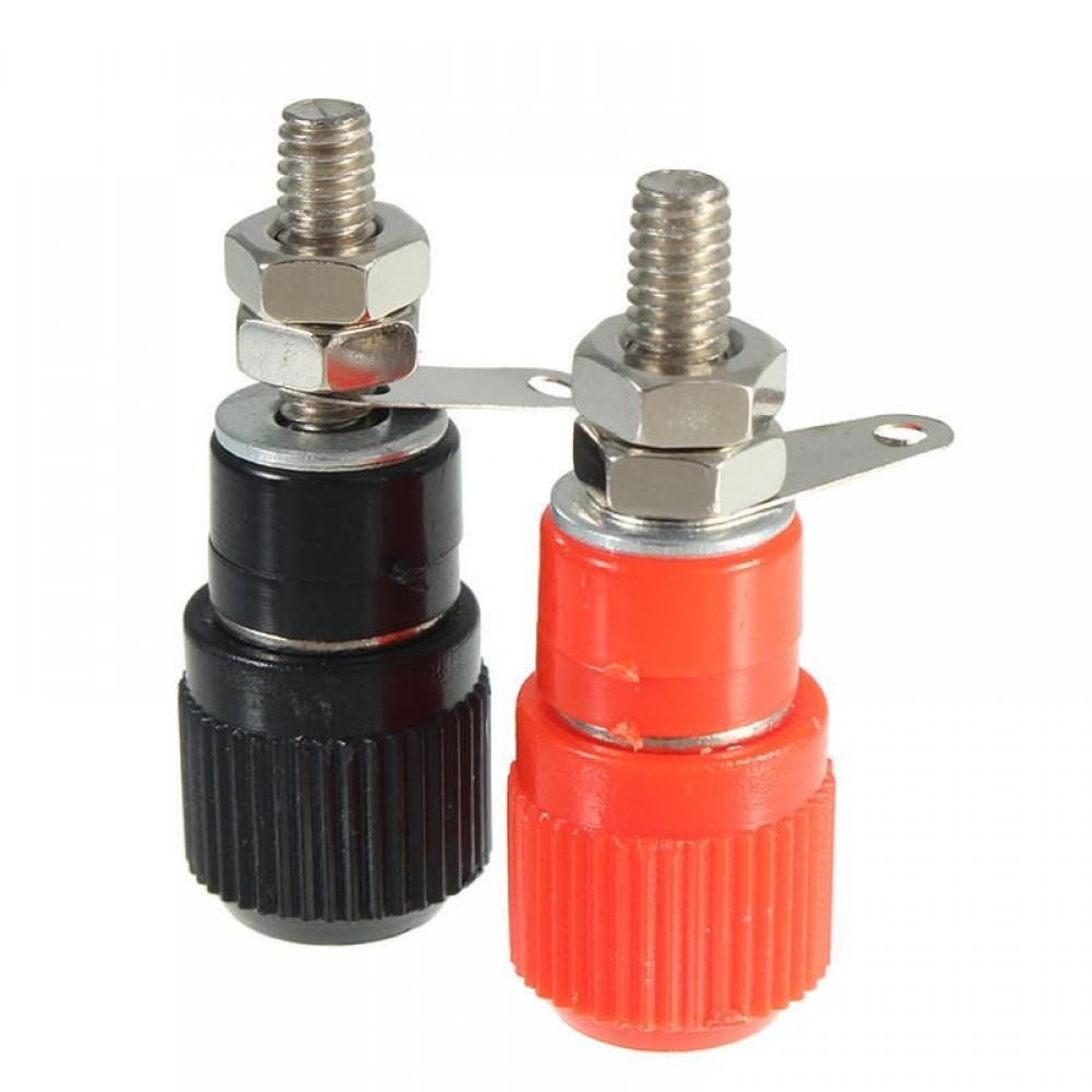 1 Pair Black Red Audio Amplifier Terminal Binding Post Banana Plug Jack Connector
