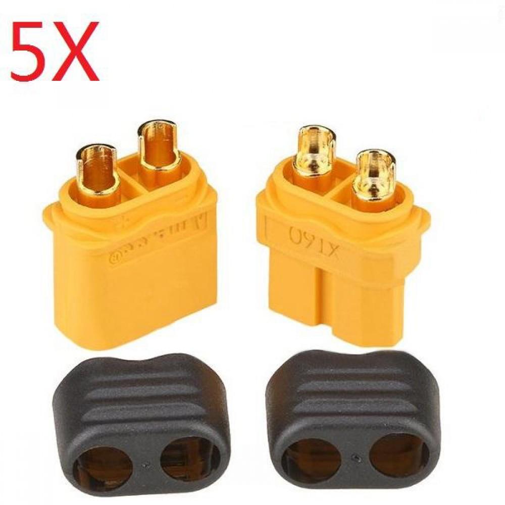 5 Pair Amass XT60+ Plug Connector With Sheath Housing Male  &  Female